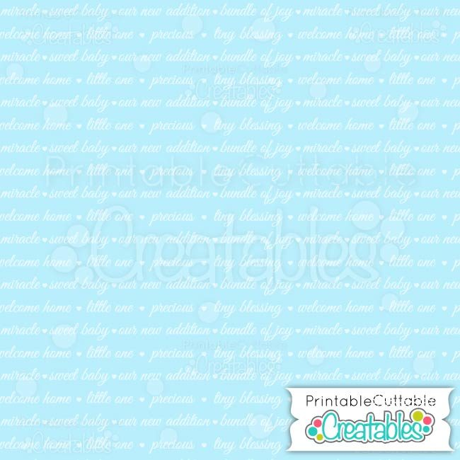 01 Blue Weclome Baby Sentiments digital paper preview