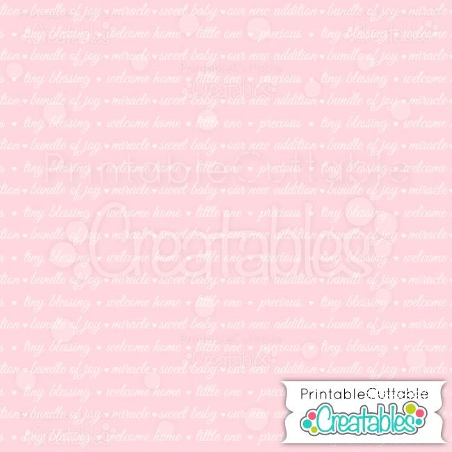 01 Pink Welcome Baby Sentiments digital paper preview