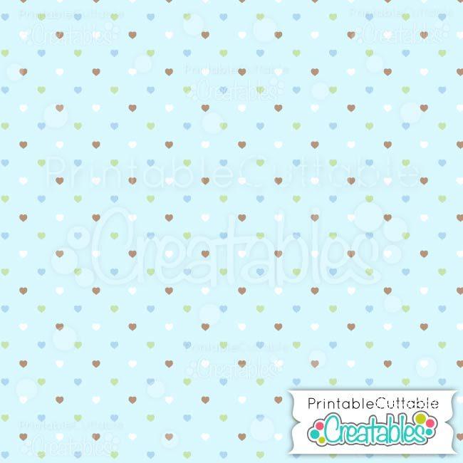 03 Blue Multi Polka dot Hearts digital paper preview