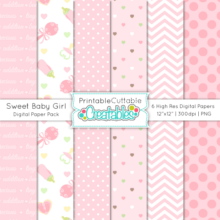 Sweet Baby Girl Digital Paper Pack & Seamless Patterns