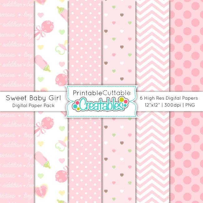 Sweet Baby Girl Digital Paper Pack & Seamless Patterns