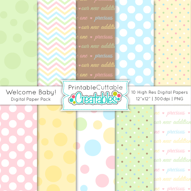 Welcome-Baby-DIgital-Paper-Pack