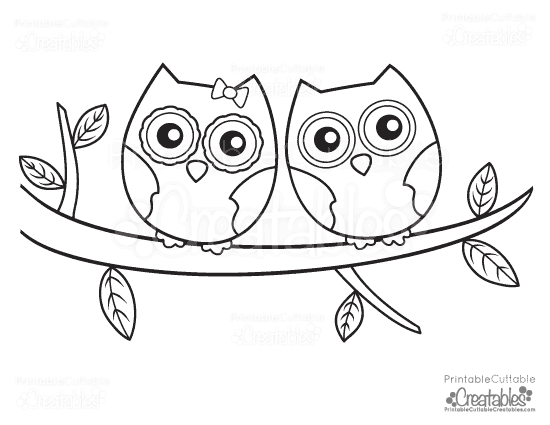 owls couple free printable coloring page - Owl Printable
