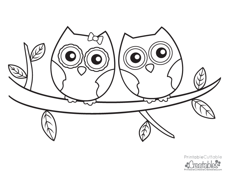 Owls Couple Free Printable Coloring Page Printable Cuttable