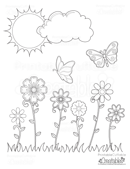 Spring Flowers Butterflies Printable Coloring Page