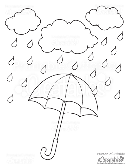Rainy day umbrella free printable coloring page for Printable umbrella template for preschool