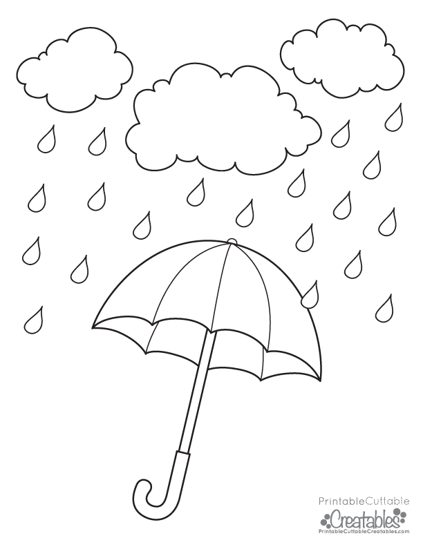 Rainy Day Umbrella Free Printable Coloring Page