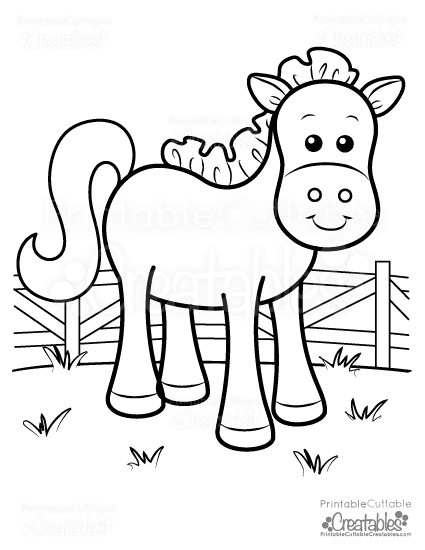 cute farm horse free printable coloring page - Horse Coloring Pages For Kids