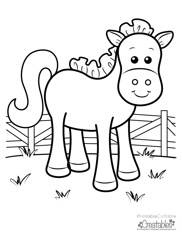 cute farm horse free printable coloring page for kids. Black Bedroom Furniture Sets. Home Design Ideas