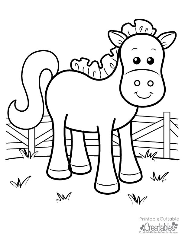 Cute Farm Horse Free Printable