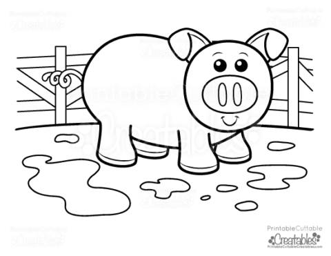cute piggy free kids printable coloring page