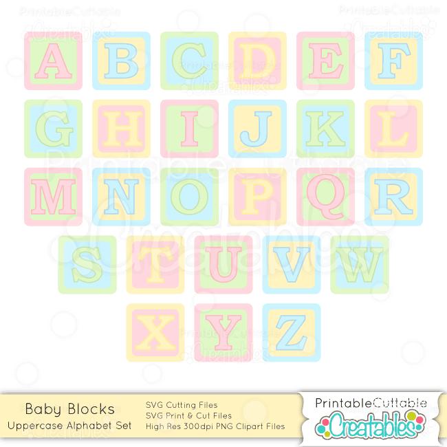 Baby Blocks Capital Alphabet Set Svg Cuts Amp Clipart