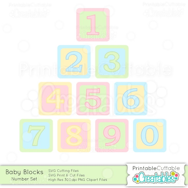 Baby Blocks Number Set - SVG Cut Files & Clipart