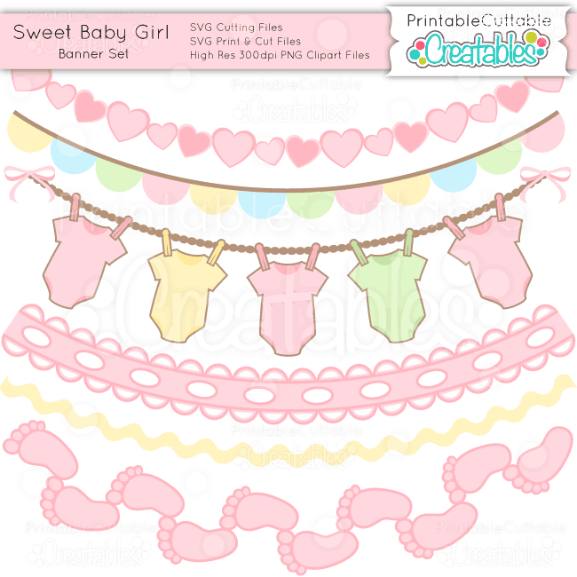 Sweet Baby Girl Banner Set Svgs Clipart