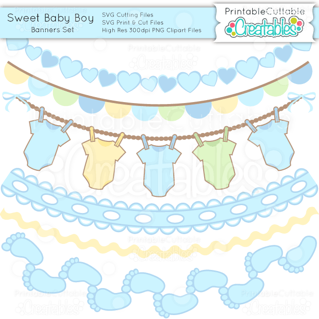 sweet baby boy banner set svgs clipart