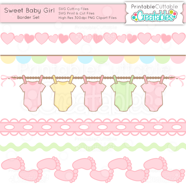 Sweet Baby Girl Borders Set Svg Cuts Amp Clipart