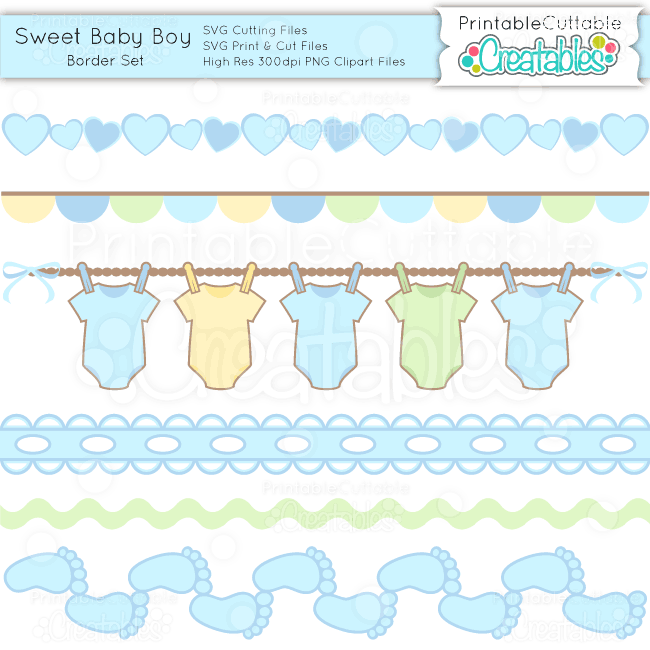 sweet baby boy borders set svg cuts amp clipart
