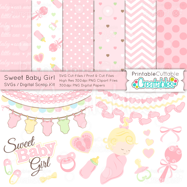 Sweet-Baby-Girl-SVG-Scrap-Kit