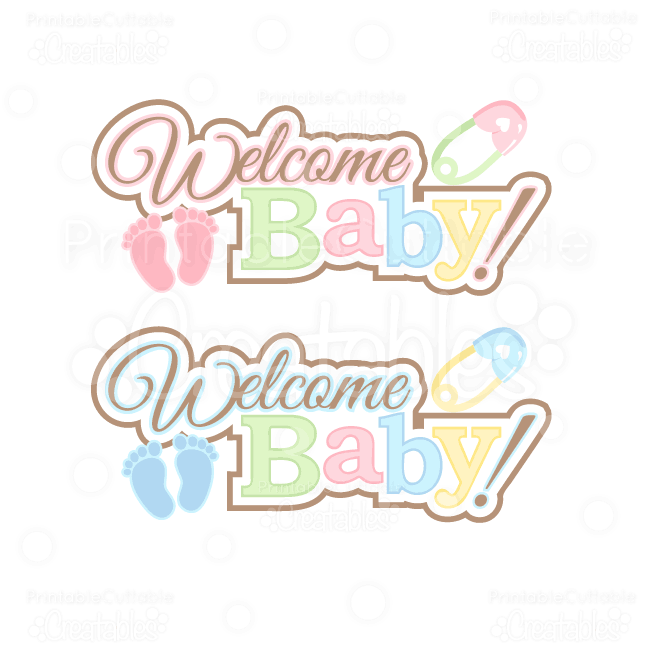 welcome baby svg word art title cutting files clipart