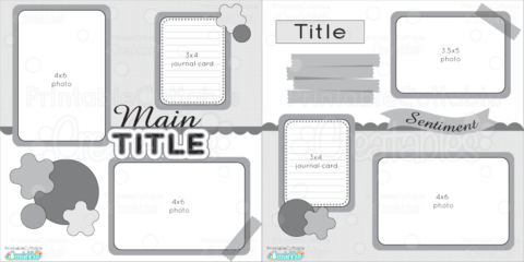 12x12 Double Layout Printable Scrapbook-Layout-Sketch