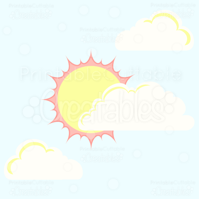 Spring Sun and Clouds Free SVG Cut Files