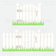 Picket Fence w / Gate SVG Cutting Files
