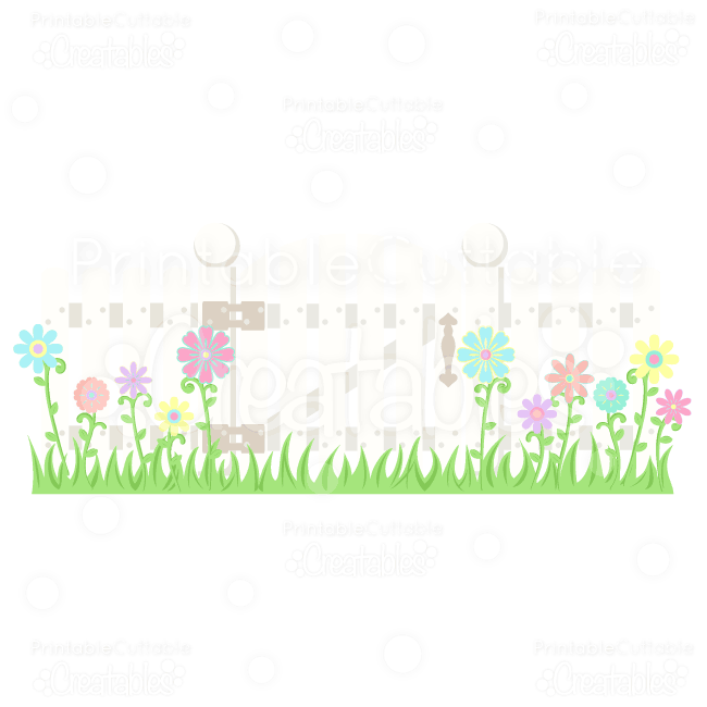 Picket Fence w/ Flowers SVG Scrapbook Embellishments