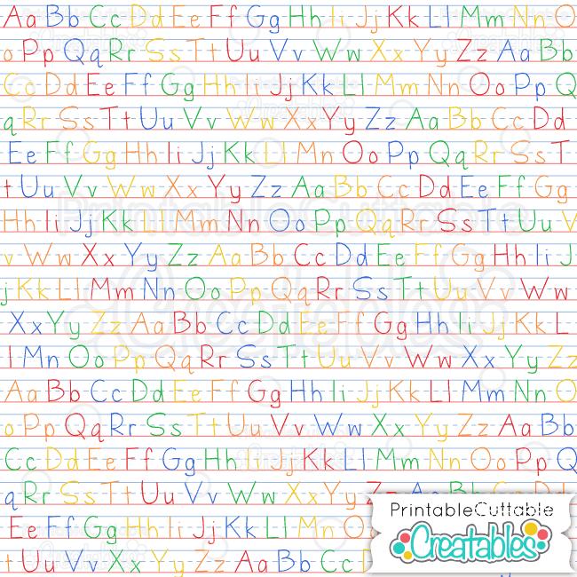 ABC color penmanship digital paper preview