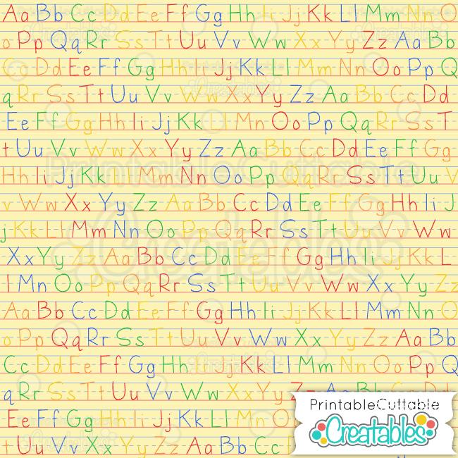 ABC color yellow penmanship digital paper preview