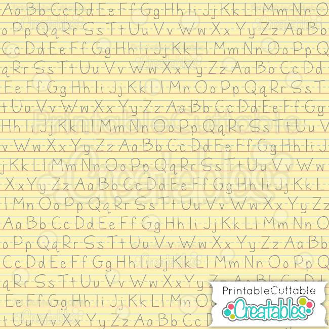 ABC yellow penmanship digital paper preview