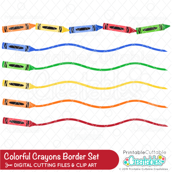 Colorful Crayons SVG Borders Set