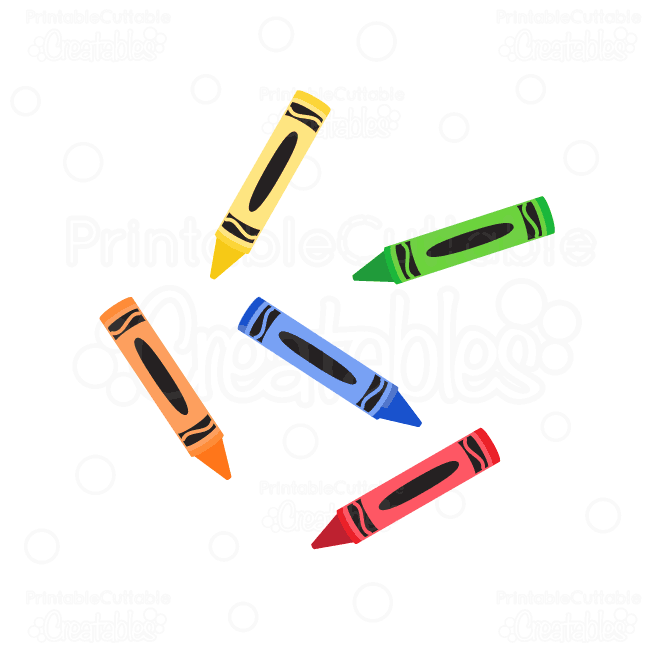 Colorful Crayons SVG cutting files clipart