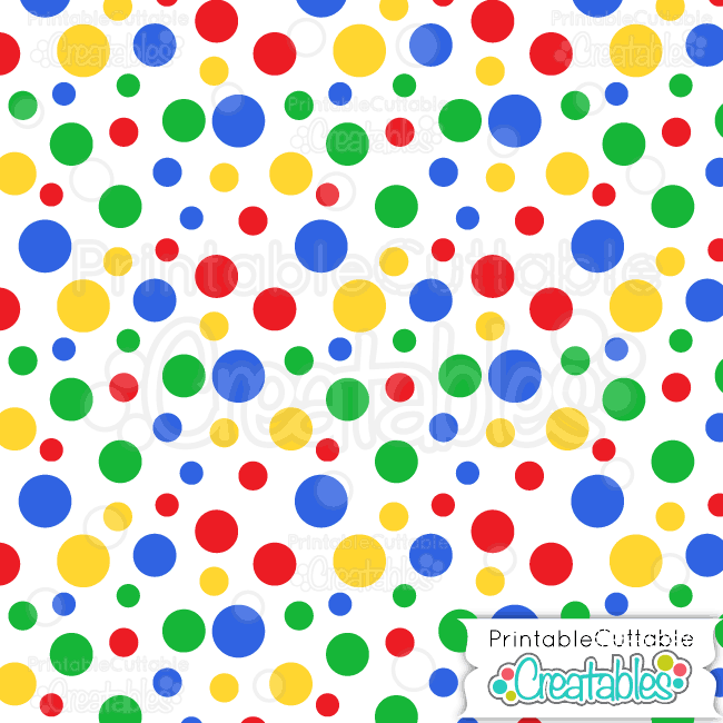 primary colors tossed dots digital paper preview