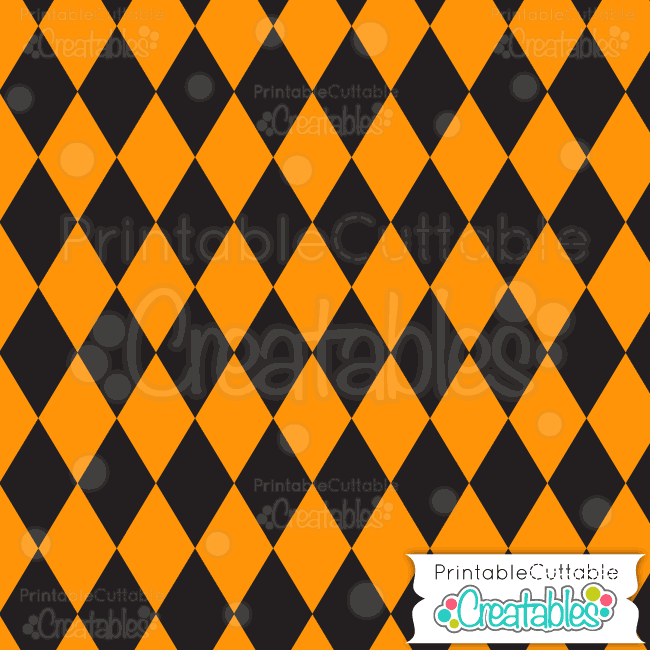 01 Halloween Orange Harlequin Treats Digital Paper