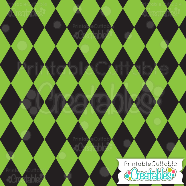 03 Halloween Green Harlequin Digital Paper