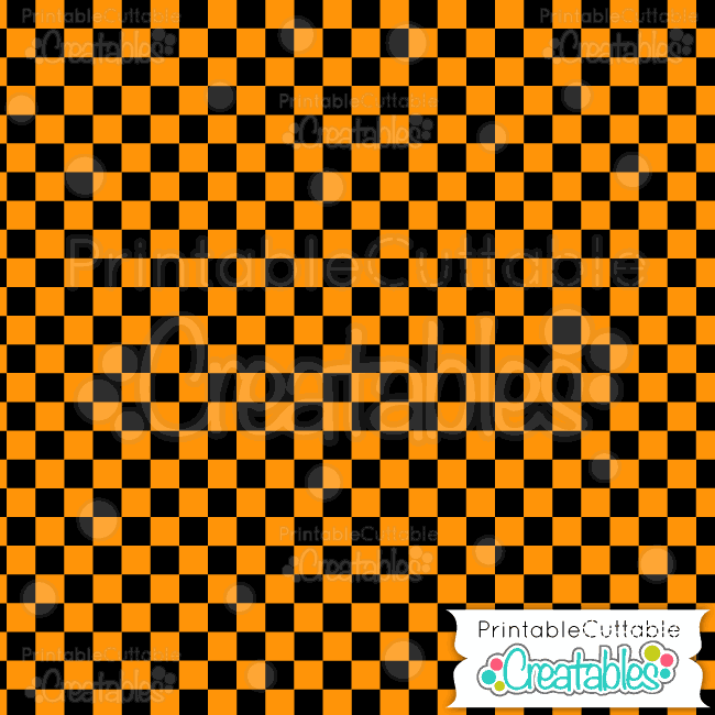 04 Halloween Orange Check Digital Paper Pattern