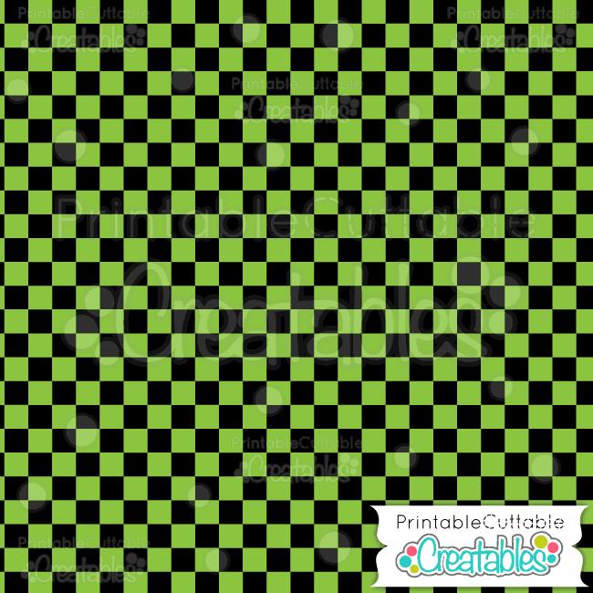 06 Halloween Green Check Digital Paper Pattern