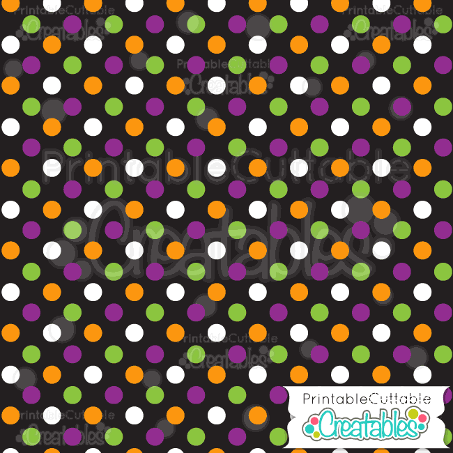 graphic about Printable Halloween Paper called Black Multi Halloween Polka-Dots Free of charge Electronic Paper