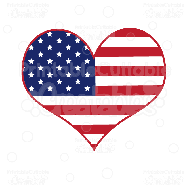 American flag svg. Heart cut files clipart
