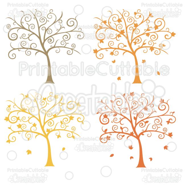 E037 Fancy Swirls Autumn Tree SVG cut file preview2 1