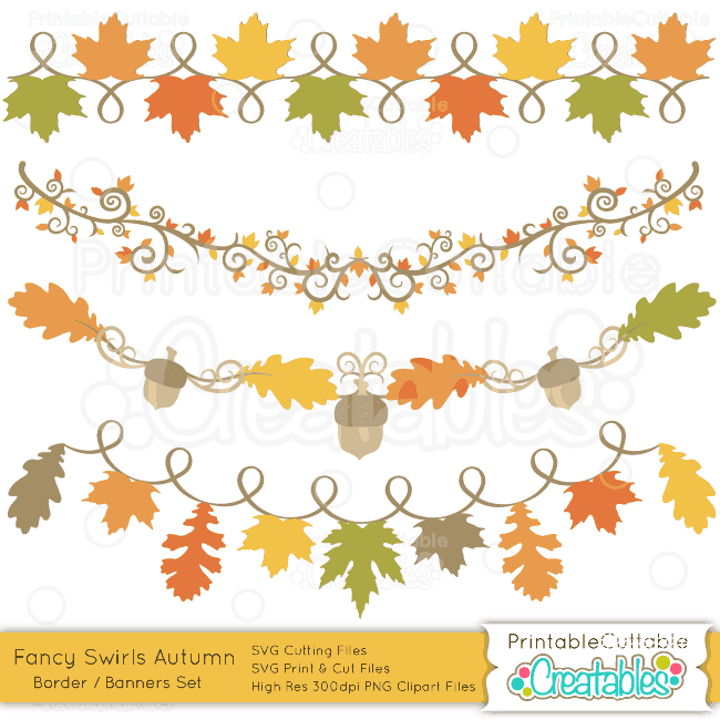 Fancy Swirls Autumn Borders Banners preview