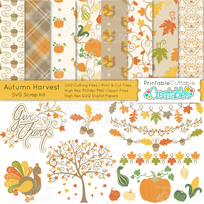 Autumn Harvest SVG Digital Scrap Kit