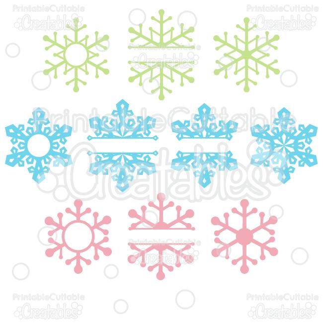 Split Monogram Whole Snowflakes Svg Cut Files Clipart