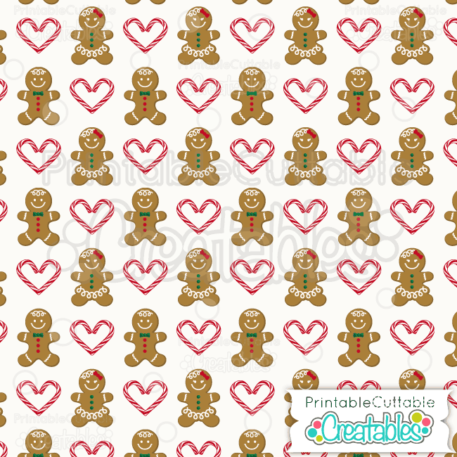 01 Gingerbread Candy Cane Hearts Digital Paper