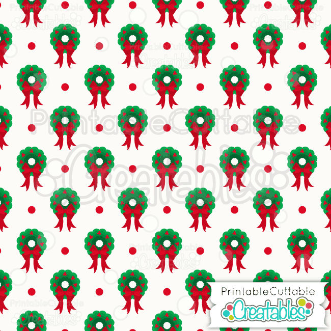 03 Scallop Christmas Wreath Digital Paper Preview