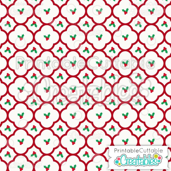 04 Christmas Holly Quatrefoil Digital Paper preview