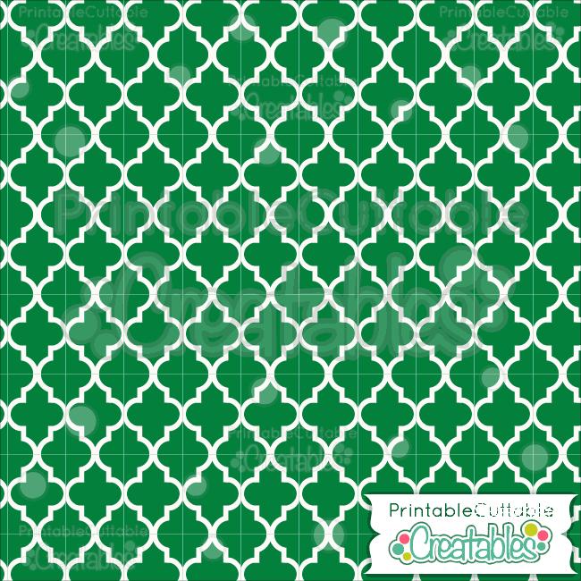 07 Green Quatrefoil Pattern