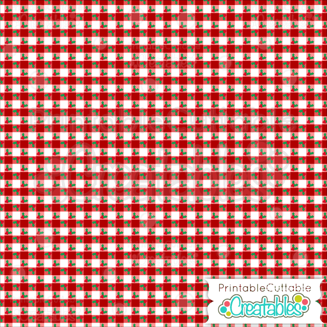 10 Christmas Holly Gingham Digital Paper