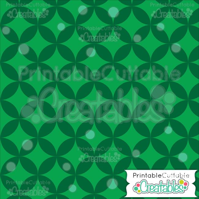 18 Xmas Green Interlocking Circle Pattern