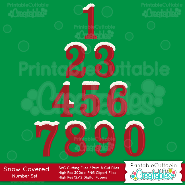 Snow-Covered-Christmas-Number-Set-SVG Cut Files Clipart